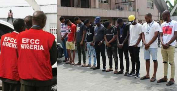 EFCC arrest 10 Yahoo Boys impersonating American Soldiers in Rivers (Photo)
