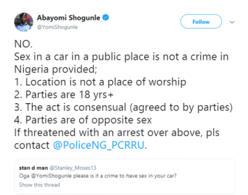 Having sex in a car in a public place is not a crime - Abayomi Shogunle lailasnews