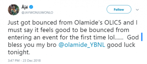 Jaywon reacts after bounced from Olamide's concert, OLIC5 lailasnews 1