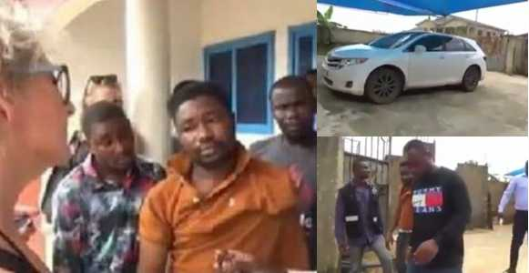 White Woman Flies All The Way From Her Country To Arrest Yahoo-Boy Who Duped Her ₦8 Million (Video)