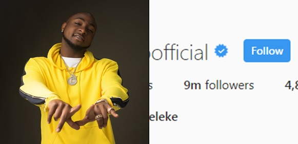 Davido becomes the first Nigerian celebrity with 9 million followers on Instagram