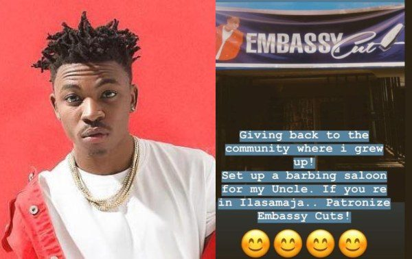 Mayorkun sets up a barbing salon for his uncle in Ilasamaja, Lagos lailasnews