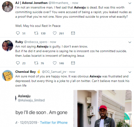 Michael Asiwaju Twitter users reacts after he committed suicide over rape allegation lailasnews 3