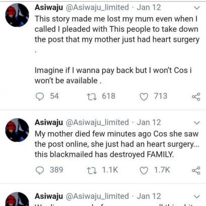 Micheal Asiwaju's last tweets before committing suicide lailasnews 4