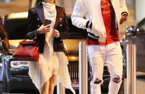 The couple both opted for white outfits with black and red accessories, including a pair of fresh trainers for Pogba