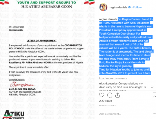 Regina Daniels blasts Buhari as she's appointed Youth campaign coordinator for Atiku lailasnews 1
