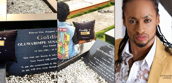 Denrele visits Goldie's graveside, pays emotional tribute to her