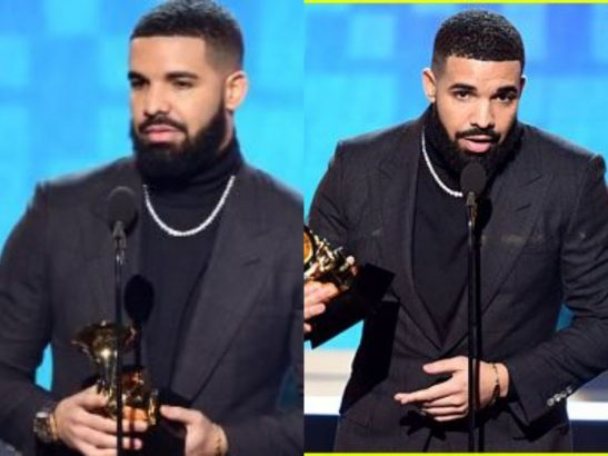 Drake gets his mic cut off during speech at the 2019 Grammy Awards