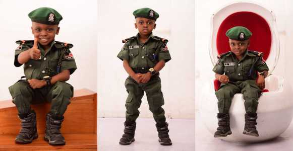 Little boy wows many with his adorable mobile police themed birthday photos