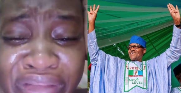 Image result for Watch Video As Lady Weeps Over President Buhari's Re-Election