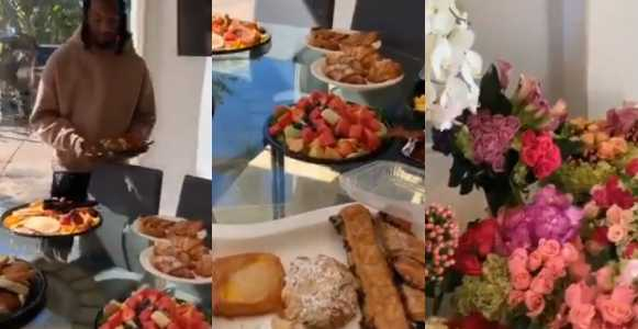 Offset Spoils Cardi B with breakfast & flowers after Grammy Win (Video)