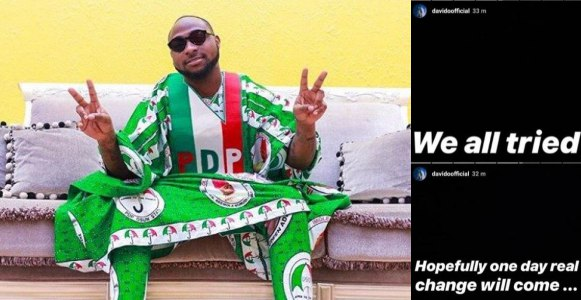 'We all tried, hopefully one day, real change will come' - Davido reacts to election results