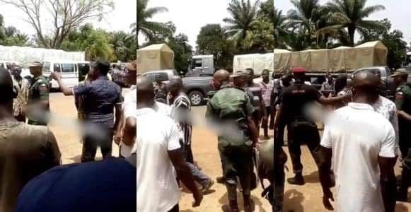 Man forces soldier to pay ₦100k for damaging his tyre (Video)