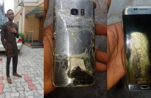 Nigerian man escapes being burnt alive as his Samsung phone explodes