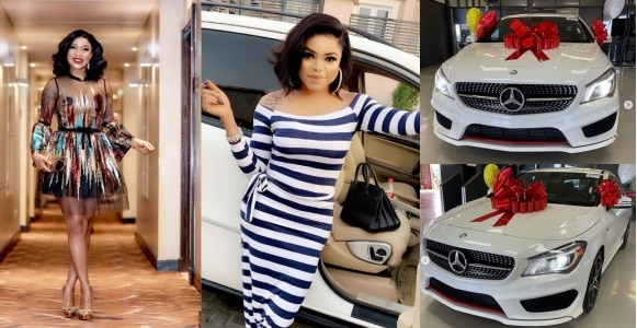 Tonto Dikeh shows off Bobrisky's new Mercedes-Benz (Photos)