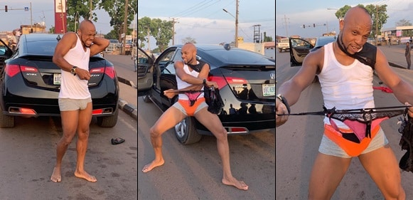 Actor Charles Okocha flaunts his eggplant in public, holds out female pants