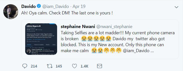 Image result for Lady Begged Davido For Infinix Phone On Twitter, She Got It