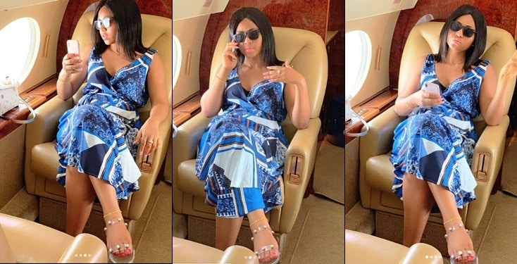 Regina Daniels flaunts engagement ring in private jet