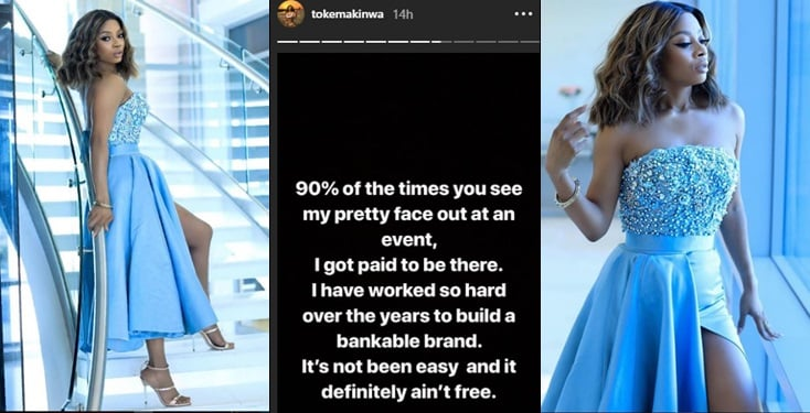 """""""I get paid to attend events 90% of the time""""- Toke Makinwa"""
