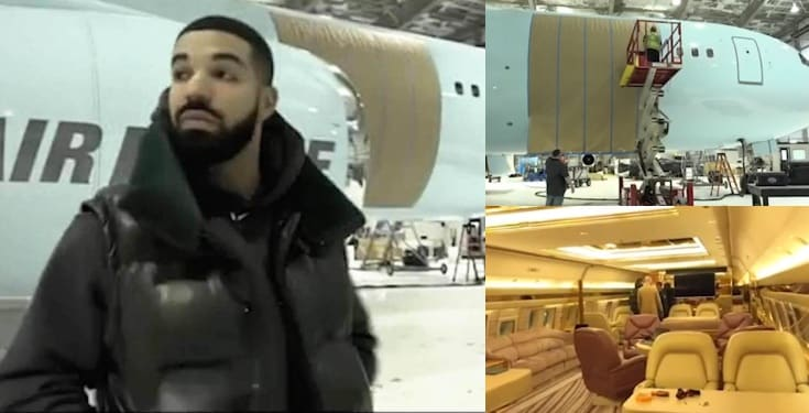 "Rapper Drake shows off his new private plane named ""Air Drake"" (Video)"