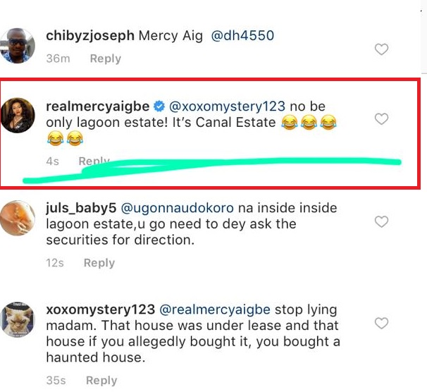 mercy aigbe responds to the claims she rented the mansion - lailasnews