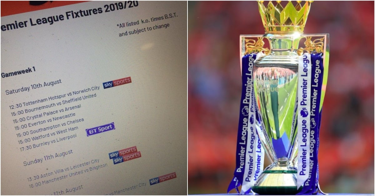 Image result for Premier League 2019/20 fixtures leaked ng