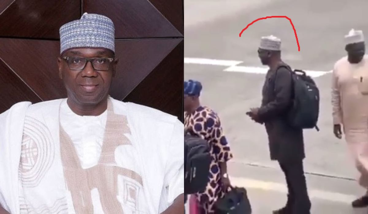 Governor AbdulRahman AbdulRazaq of Kwara State has caught the attention of the public eye after he was spotted on a queue as he was about to board a commercial flight. In a video which has since gone viral online, Governor Abdulrazaq was filmed by an onlooker as he patiently waited his turn with other passengers who were about to board a commercial flight.