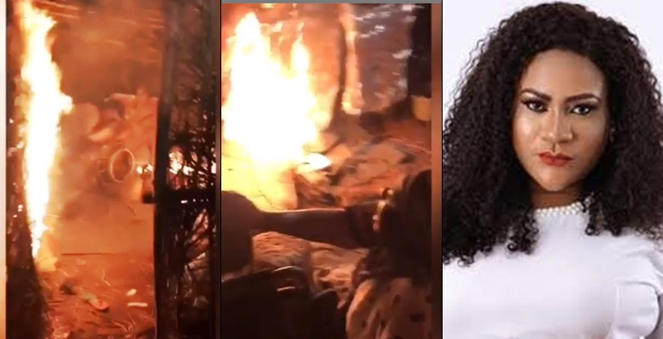 Nkechi Blessing escapes being burnt alive during movie shoot