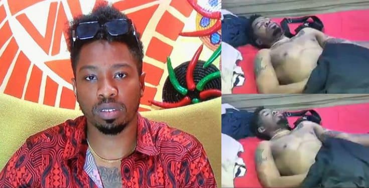 BBNaija: Ike Attempts To Masturbate As He Suffers Erection (video)