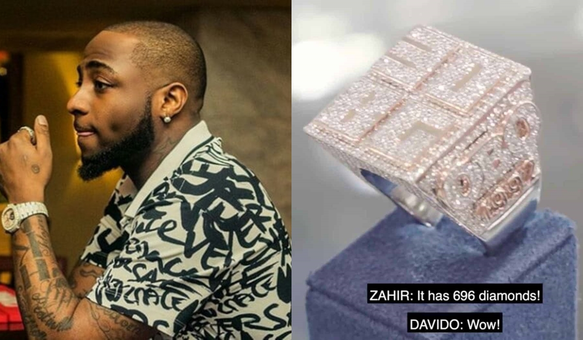 Image result for Davido's 30BG ring has 696 diamonds and costs N54M