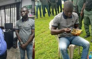 Suspected Port Harcourt serial killer seen having rice and water while being paraded
