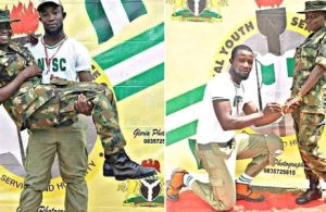 Corp member proposes to female soldier at NYSC Camp in Ebonyi State