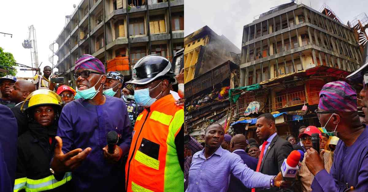 Gov. Babajide Sanwo-olu visits Balogun Market after fire outbreak (Photo)