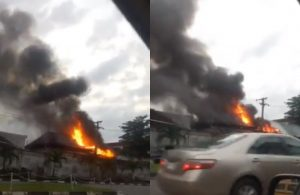 Residential building on fire in Alausa, Ikeja (Video)
