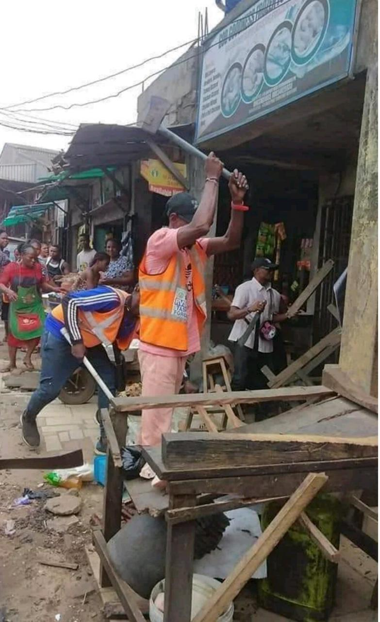more images Rivers State Task Force Pulls Down Illegal Market